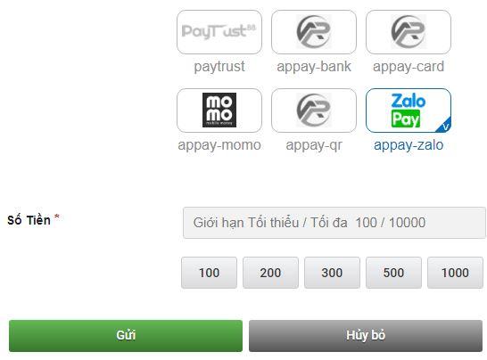 Giờ đây có thể nạp tiền vào CMD368 bằng Momo hoặc Zalo pay